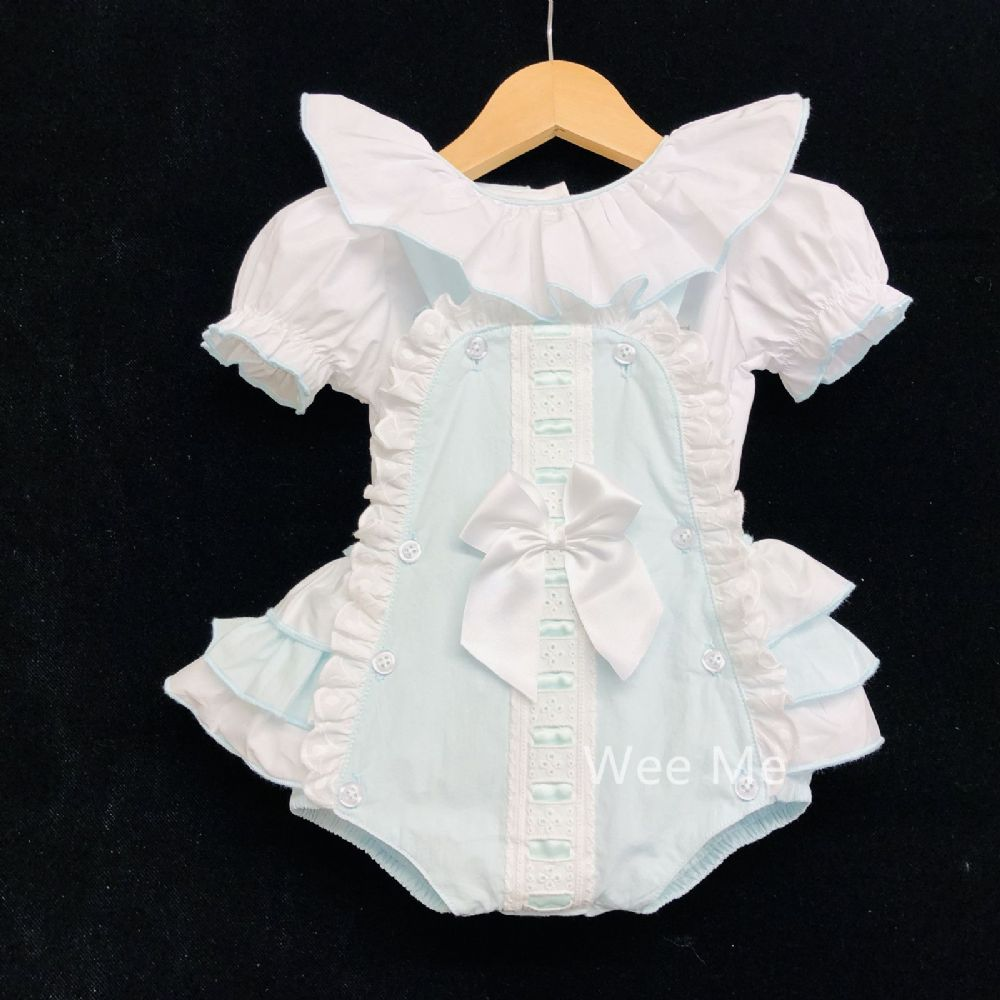 New Arrival Gorgeous Baby Girl Spanish Mint Brace Suit Frilly Back Big Satin Bow
